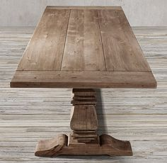 RH's Salvaged Wood Trestle Rectangular Extension Dining Table:Our salvaged wood trestle table is handcrafted of unfinished, solid salvaged pine timbers from 100-year-old buildings in Great Britain.
