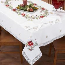 Duftin Poinsettia & Tassle Tablecloth Stamped Embroidery Oh, how I would enjoy embroidering this tablecloth and napkins to give it to some wonderful person!