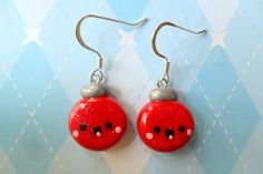 Kawaii Christmas Ornament Earrings Polymer Clay by JollyCharms, $8.50