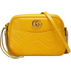 Gucci Gg Marmont Matelassé Shoulder Bag ($1,690) ❤ liked on Polyvore featuring bags, handbags, shoulder bags, gucci, sac, yellow, genuine leather purse, shoulder handbags, yellow handbags and genuine leather handbags