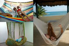 Post image for Summer Days: 12 Gorgeous Crochet Hammocks for Relaxation and Rejuvenation Crochet Hammock, Crochet Quilt, Crochet Home, Crochet Gifts, Crochet For Kids, Diy Crochet, Crochet Summer, Indoor Hammock, Hammock Swing Chair