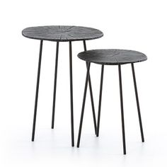 Crafted of sturdy aluminum and iron, our versatile nesting tables combine lightweight portability with remarkable strength. The circular tops are hand-finished with fois bois patterns to emulate the beauty of rough-sawn tree trunks. End Table Sets, End Tables, Metal Nesting Tables, Metal Accent Table, Living Room Remodel, Antique Metal, Furniture Sale, Bronze Finish, Table Settings