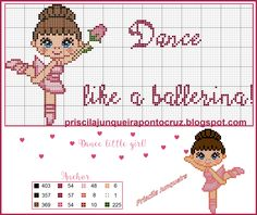 ♥ Dance little girl, like a ballerina! Cross Stitching, Cross Stitch Embroidery, Cross Stitch Patterns, Small Cross Stitch, Cross Stitch Baby, Baby Ballerina, Cross Stitch Boards, Charts And Graphs, Little Girls