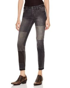 FREE PEOPLE Patched And Relaxed Skinny Jeans In Kite. #freepeople #cloth #kite