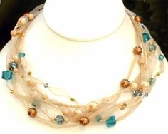 Ribbon Necklace Class Sample - Teal and Gold