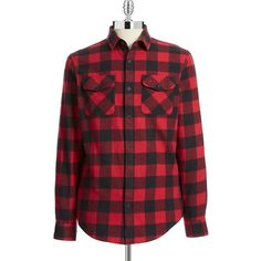 Original Penguin Buffalo Check Flannel Shirt ($59) ❤ liked on Polyvore featuring men's fashion, men's clothing, men's shirts, men's casual shirts and red