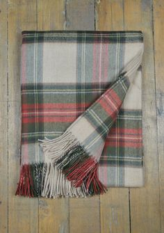 Luxury Lambswool Blanket in Stewart Camel Weathered Tartan    The Tartan Blanket Co.