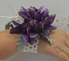 silk corsages | Silk wedding flower purple orchid wrist corsage fake bridal flowers