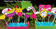 Mad Hatter Inspired Tea Party Photo Props by That Party Chick!  For details on this cute birthday party visit www.thatpartychick.net