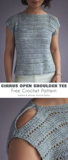 Crochet clothes 293648838203507580 - Cirrus Open Shoulder Tee Free Crochet Pattern Source by mariclothilde T-shirt Au Crochet, Cardigan Au Crochet, Pull Crochet, Gilet Crochet, Mode Crochet, Crochet Shirt, Crochet Woman, Crochet Hearts, Beginner Crochet