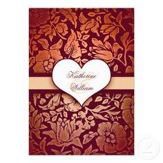 elegant vintage damask red flowers pattern and love heart, custom rehearsal dinner invitations.