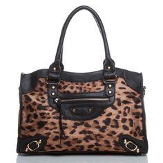 Animal-print handbag.