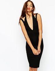 ASOS Plunge Neck Midi Dress