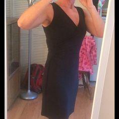 12/19 INSTA CHIC HP!!  Ann Taylor loft dress Black dress. V-neck with side tie. Worn once. Ann Taylor Dresses