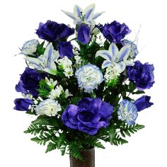 Purple Rose with Carnations and Lilies Artificial Bouquet, featuring the Stay-In-The-Vase Design(c) Flower Holder * You can get additional details at the image link. (This is an affiliate link) Grave Flowers, Altar Flowers, Cemetery Flowers, Funeral Flowers, Artificial Flower Arrangements, Artificial Flowers, Floral Arrangements, Cemetery Vases, Cemetery Decorations