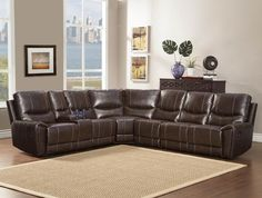 Homelegance Gerald Leather Sectional Reclining Sofa in Rich Brown traditional-sectional-sofas