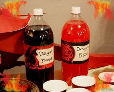 Dragon Birthday Party 2 Liter Bottle Wrapper by FrolicParties, $2.95 DRAGON DROOL LOL