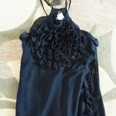 NWT RAIN BLACK FLOATY TOP SHIRT New.  Large flower in front.  Adjustabe straps in back. RAIN Tops