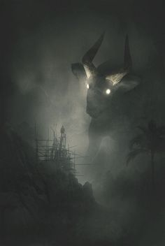 Depression Illustration Jungle Animals Series by Dawid Planeta Dark Fantasy Art, Fantasy Artwork, Monster Art, Fantasy Creatures, Mythical Creatures, Depression Illustration, Images Terrifiantes, Wolf Images, Art Sinistre
