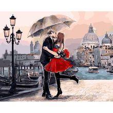 Beijo Romântico Amante emoldurado Pintura DIY By Numbers Paisagem Imagem Acrílico Arte Da Parede Pintados À Mão Pintura A Óleo Para A Decoração Da Casa(China (Mainland))