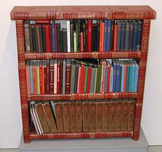 Awesome, book shelf made out of outdated encyclopedias.