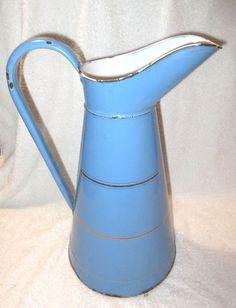Antique Vintage French Blue Enamelware Graniteware Body Pitcher - Rivets
