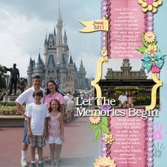 Disney scrapbook layout, lots of journaling space by cassandra
