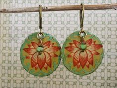Vintage Tin Lotus Earrings