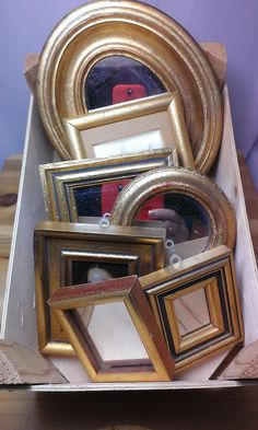 Vintage 1970's-1980's 7 Piece Set - Decorative Gold Frame Mirrors and Wall Decor #Mediterranean