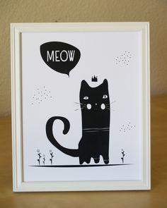 Black Cat Illustration - 8x10 - black and white baby nursery art. $14.00, via Etsy.