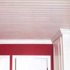 covering popcorn ceilings with bead board - love it!