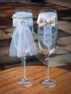 Taça decorada para o brinde especial dos noivos!