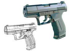 ilustración vectorial Hand Guns, Digital, Illustrations, Colors, Pictures, Firearms, Pistols