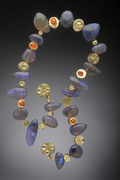 HUGHES BOSCA 18K GOLD JEWELRY | Necklace. Black & Orange Opal with 18K Gold, moonstones and White Diamonds.