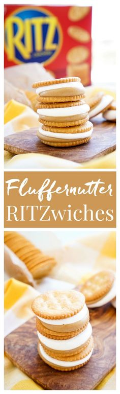 These Fluffernutter RITZwiches are a fun mix of two childhood classics! Who doesn\'t love peanut butter and marshmallow fluff sandwiched between two buttery RITZ crackers! It\'s the ultimate easy snack that\'s ready in just a 5 minutes! You can trade out the peanut butter for cookie butter or sun butter too! #stackitup #ad