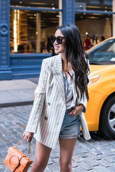 Fashion Secrets :: Striped blazer & Denim shorts - Wendy's LookbookWendy's Lookbook