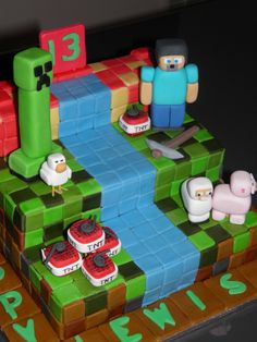 My crazy Minecraft-loving kids would LOVE this cake.