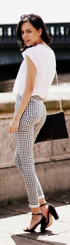 Black And White Women's Gingham Skinny Rolled Cuff Pants