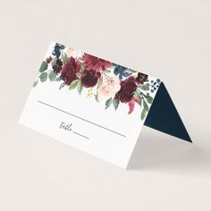 Shop Radiant Bloom Wedding Place Card created by RedwoodAndVine. Personalize it with photos & text or purchase as is! Burgundy Wedding, Green Wedding, Floral Wedding, Wedding Flowers, Elegant Wedding, Botanical Wedding, Wedding Places, Wedding Place Cards, Card Wedding