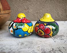 90 Day Plan, Yellow Kitchen Decor, Hacienda Style, Spanish Style, Salt And Pepper, Etsy Seller, Mexican, Pottery, Blue
