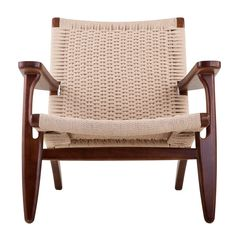 Nordic Rattan Woven Lounge Chair Walnut, EMFURN - 2