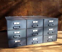 Set of 9 Vintage Industrial Metal Stacking Storage Drawers / Industrial Gray / Modular Storage Organization / Supplies Storage