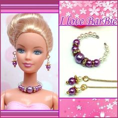 Barbie Jewelry Handmade Green Flowers Necklace And Earrings