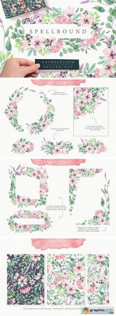 Spellbound Watercolour Design Kit  stock images