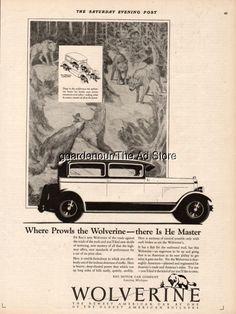 reo motor car co lansing mi wolverine wolves art original vintage print ad