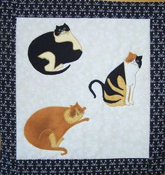 Three Cats quilted pillow