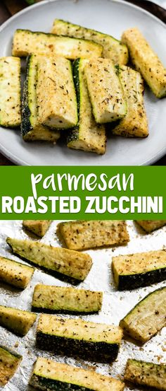 Parmesan Roasted Zucchini is one of our favorite easy side dishes! Just a few ingredients make this the perfect 30 minute dinner recipe. via @crazyforcrust