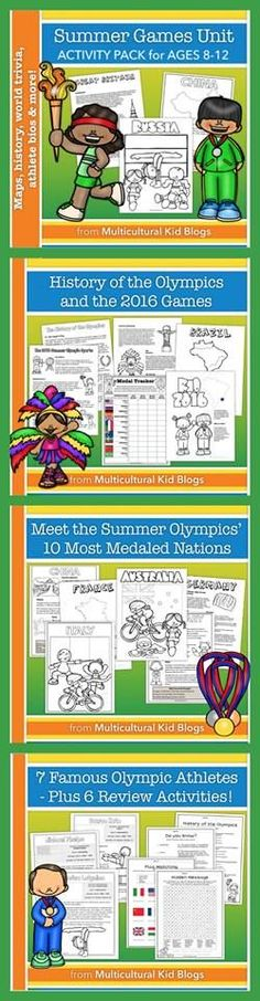 Summer Games Unit Activity Pack {Ages 8-12} Comprehensive Summer Games Unit For parents and educators raising global citizens, this no-prep packet introduces children to 11 countries around the world through the Olympics theme.