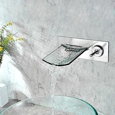 Nickel Brushed Finish Copper Waterfall Wall Mounted Bathroom Sink Faucet -- Faucetsmall.com Bar Sink Faucet, Bathroom Sink Taps, Copper Faucet, Steam Showers Bathroom, Faucet Handles, Bathroom Fixtures, Sinks, Contemporary Bathrooms, Wall Mount