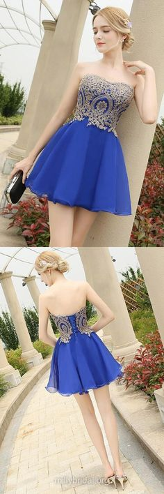 Royal Blue Prom Dresses,Girls Homecoming Dresses,A-line Sweetheart Chiffon Formal Party Gowns,Short/Mini Appliques Lace Evening Cocktail Dress